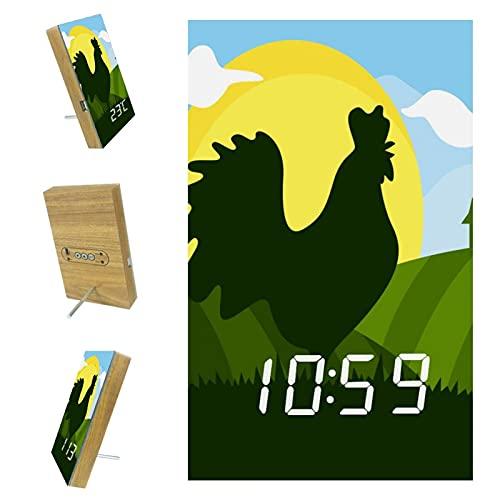 Reloj despertador digital con puerto de cargador USB, reloj despertador moderno para dormitorio, reloj despertador LED con función de repetición Silueta de gallo en Green Hills Sun Cloud
