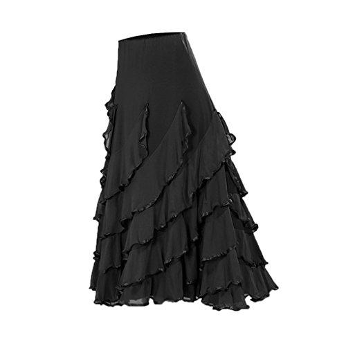 D DOLITY Frauen Tanzkostüm Salsa Tango Cha Cha Spanischen Flamenco-Kleid Maxirock Tanzrock Tanzkleider Ballsaal - Stil 2 Schwarz, wie beschrieben