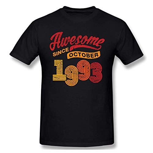 fshsh Camisetas y Tops Hombre Polos y Camisas Awesome Since October 1993 Vintage Men T-Shirts Casual Cotton Retro Birthday Gift T Shirt