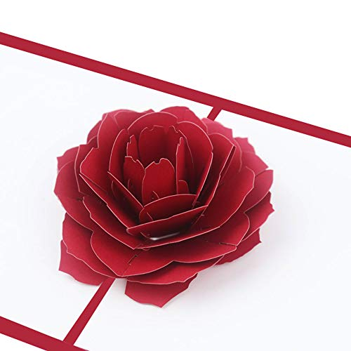 Pop Up Rose Card, Popup Handmade Greeting Card 3D Red Rose Flower Thank You Card Festive Pop-Up floral Card Gift Wedding Invite Greeting Card for Valentine's Day Birthday Anniversary, Include Envelope