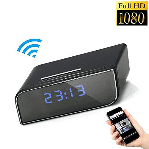 Cámara espía 1080P HD Oculta con WiFi Reloj de Mesa TKSTAR WiFi Cámara espía Despertador, cámara espía inalámbrico con vídeo en Directo, detección de Movimiento, gráfico de Hora, visión Nocturna SW08