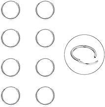 Silver Hoop Earrings- Cartilage Earring Small Hoop Earrings for Women Men Girls,4 Pairs of Hypoallergenic 925 Sterling Silver Tragus Earrings(Silver,8mmx4)