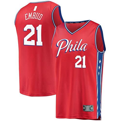 HFHDF Joel Basketball Jersey Embiid Sudadera Philadelphia Hombres 76ers Sportswear #21 Fast Break Jersey Rojo - Declaración Edition-M