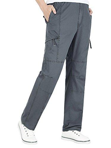 OCHENTA Men's Full Elastic Waist Lightweight Workwear Pull On Cargo Pants #08 Dark Grey Tag 3XL - US 38
