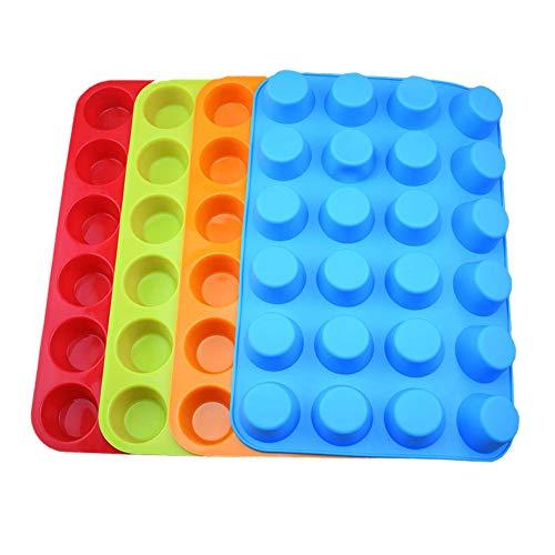 L-SLWI Dik 24 Gat Ronde Siliconen Taartvorm, Handgemaakte Zeep Ijs Wax Blok Muffin Cup Cookie Mold 2 Per Pack