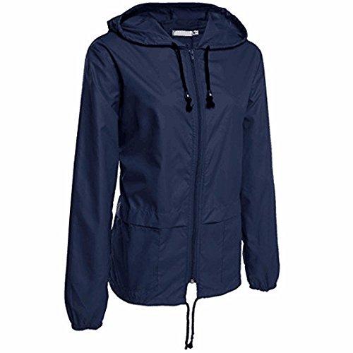 AILIEE - Chaquetas de lluvia para mujer, ligera, con cremallera, manga larga, impermeable, resistente al viento, solo a la izquierda S-2XL