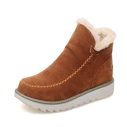 Botas De Nieve Mujer Invierno Aire Libre Altas Calentar Forrado Botines Snow Ankle Boots Zapatos De Cuña 3cm Marrón 38