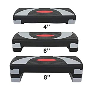 Saturnpower 30 Inch Fitness Aerobic Step Platform Adjustable 4In – 6In – 8In Workout Trainer Exercise Stepper with Risers,Flat Gym Sports Bench at Home Household Fitness Equipment