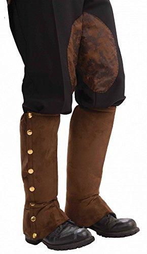 shoperama Stiefelstulpen mit goldenen Knöpfen in Wildleder-Optik für Piraten, Steampunk etc., Farbe:Schwarz