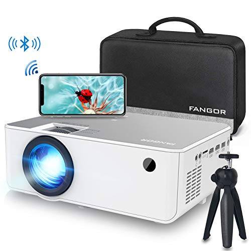 1080P HD Projector, WiFi Projector Bluetooth Projector, Fangor 5500 Lumen 230 Portable Movie Projector, Compatible with TV Stick, HDMI, VGA, USB, Laptop, iPhone Android for PowerPoint Presentation