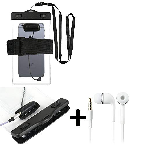 K-S-Trade Waterproof Case With Earphone Inlet Compatible With Lenovo K10 Plus + Headset Included, Transparent | Jogging Armband Phone Case Beach Bag Outdoor Case Underwater Shell For Beach
