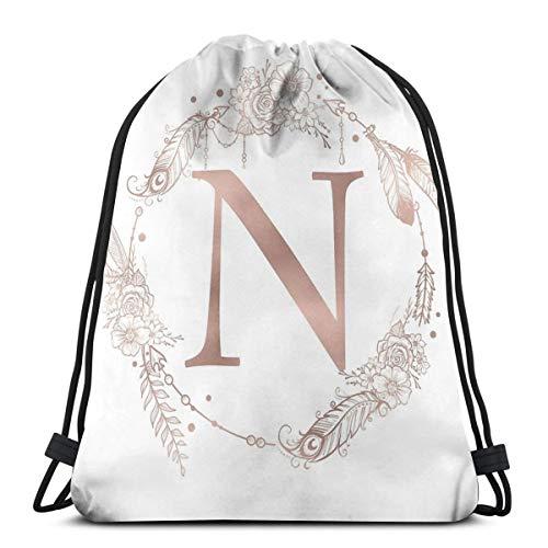 Dutars - Bolsa de Hombro con diseño de Letra N y Monograma de Inicial, Color Rosa y Dorado, con cordón, para Viajes, Gimnasio, Yoga, Regalo de Almacenamiento