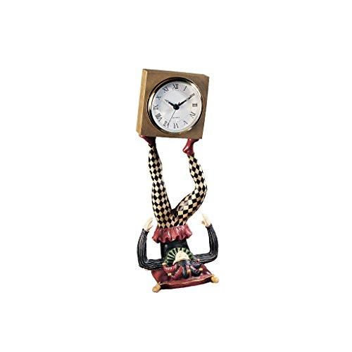 Design Toscano NG33744 Horloge Décorative Bouffon Arlequin Jonglant Son Temps, Multicolore, 12.5 x 12.5 x 33 cm