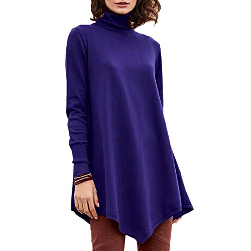 NLZQ Woman's Pullover T Shirts Long Sleeve Slim Fit Turtleneck top Sweatshirts Outdoor Loose Comfortable Casual Daily Wear Streetwear Spring, Summer and Autumn New Irregular Hem 3XL
