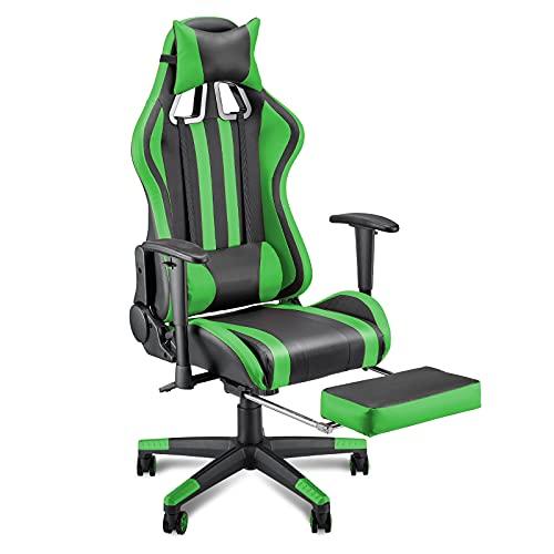 Soontrans Sedia Gaming Ergonomico Sedia da Gaming con Poggiapiedi Sedia Scrivania Poltrona Gaming, Regolabile Poggiabraccia, Cuscino Lombare e Supporto Testa (Verde)