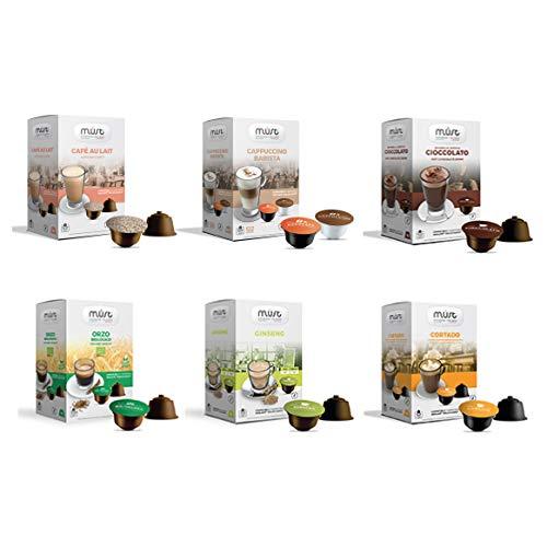 MUST 96 Capsule Solubili MISTI Variety Pack Degustazione, 6 Pack da 16 Capsule, Cialde Autoprotette Compatibili con Macchina / Macchinetta Nescafè Dolce Gusto, Made in Italy