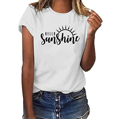BUKINIE Tee-Shirt Femme Chic Chemises Été Blouse Grande Taille Décontractée Manche Courte Tee-Shirt Basique en Tunique(Blanc,XX-Large)