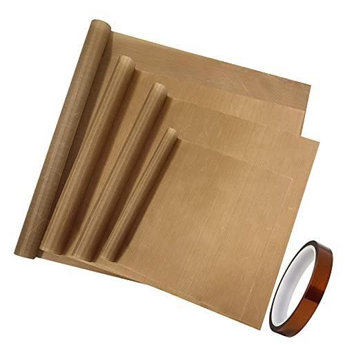 Paquete de 8 hojas de teflón, 1 cinta de calor de alta temperatura, sublimación resistente al calor, para papel de transferencia de calor resistente al calor para hornear hoja de manualidades (marrón)