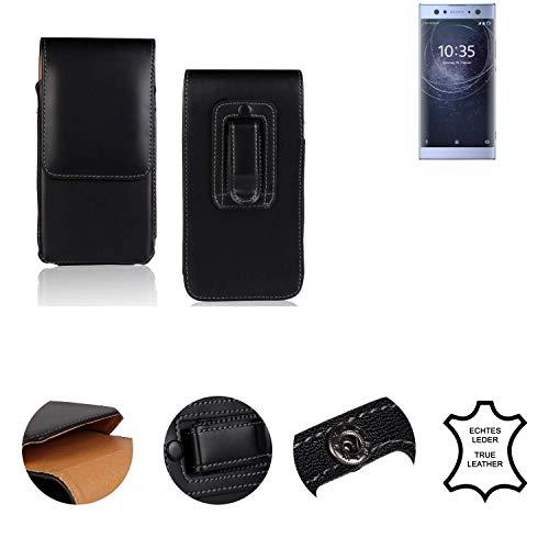 K-S-Trade® Holster Gürtel Tasche Für Sony Xperia XA2 Ultra Dual-SIM Handy Hülle Leder Schwarz, 1x