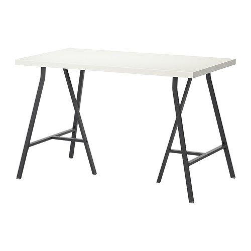 IKEA LINNMON / LERBERG - Mesa, blanco, gris - 120x60 cm