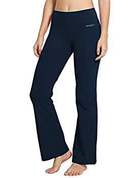 BALEAF Women s 30  Bootcut Regular/Tall High Waisted Yoga Pants Bootleg Jazz Cotton Pants Dark Blue Size L