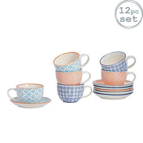 Nicola Spring Patterned Porcelain Cappuccino Cups and Saucers - 3 Designs - Set of 6
