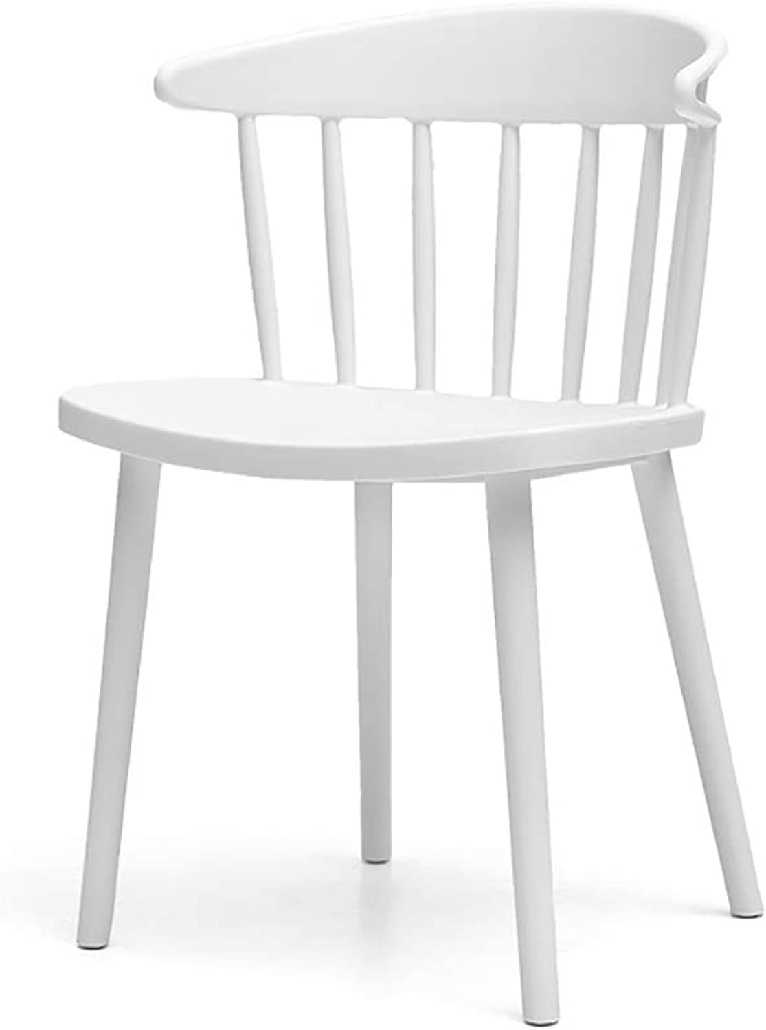 YXX-Dining chair Plastic Dining Side Chair Backrest Chairs for Kitchen, Simple Desk Chair Lazy Chair Lounge Chair (color   White)