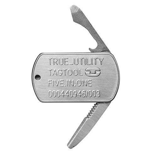 True Utility TU232 TagTool Outil avec Couteau plat/dentelé/Ouvre-bouteille/Tournevis à tête plate/Lime à ongles
