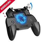 Mobile Game Controller with 4000mAh Power Bank and Cooling Fan, PUBG Mobile Controller Gamepad L1 R1 Aim and Shoot Trigger, Joystick Remote Grip for 4.7-6.5' iPhone Android iOS Phone Accessories