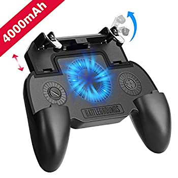Mobile Game Controller with 4000mAh Power Bank and Cooling Fan PUBG Mobile Controller Gamepad L1 R1 Aim and Shoot Trigger Joystick Remote Grip for 4.7-6.5  iPhone Android iOS Phone Accessories