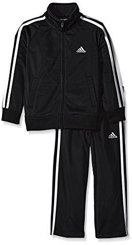 adidas Toddler Boys' Iconic Tricot Jacket and Pant Set, Black/White, 4T