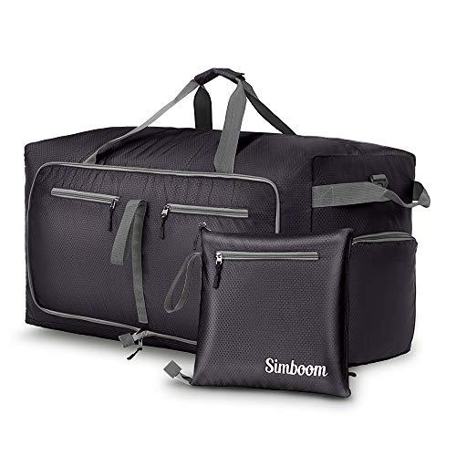 SIMBOOM Faltbare Reisetasche für Männer und Frauen, 100L Wasserdicht Reise-Gepäck Sporttasche Leichter Duffel Taschen mit schuhfach für Gepäck Reise Sport Gym Urlaub, Schwarz