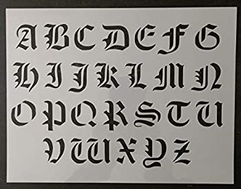 Reusable Sturdy Stencil Old Olde English Font Alphabet 11  x 8.5  Cut Stencil Sheet  not Paper  Arts and Crafts Material Scrapbooking for Airbrush Painting Drawing