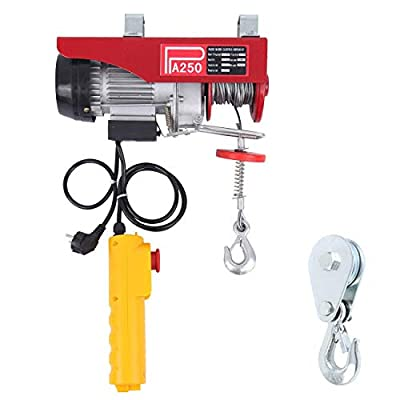 Yonntech 550 lbs Lift Electric Hoist Crane Remote Control Power System, Zinc-Plated Steel Wire Overhead Crane Garage Ceiling Pulley Winch w/Straps (w/Emergency Stop Switch)