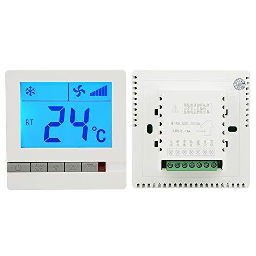 Termostato per condizionatore d'aria, termoregolatore per ventilconvettori, termostato digitale di alta qualità, leggero con tasti chiari per l'industria del controllo della temperatura