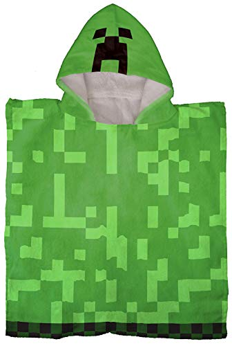 Jay Franco Minecraft Creeper Kids Bath/Pool/Beach Hooded Poncho - Super Soft & Absorbent Cotton Towel, Measures 28 x 56 Inch (Official Minecraft Product)