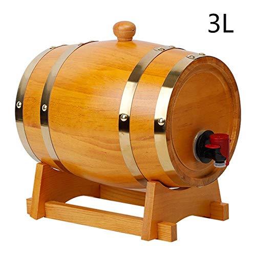 KTDT Barril de Vino de Roble Barril de Madera Almacenamiento de Cerveza 1.5L / 3L / 5L / 10L / 15L / 20L / 25L / 30L con dispensador de Grifo para licores de Whisky Licor de Cerveza de tequi