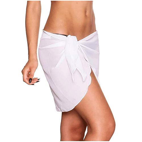 jieGorge Swimwear Tummy Control, Women's Sexy Solid Color Beach Skirt Swimwear Cover Up, Swimming Costume Women (White Free Size)