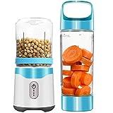 Gesh Mixeur personnel, mixeur portable USB rechargeable pour milk-shakes et smoothies, six lames puissantes pour un superbe mélange de fruits glacés Bleu