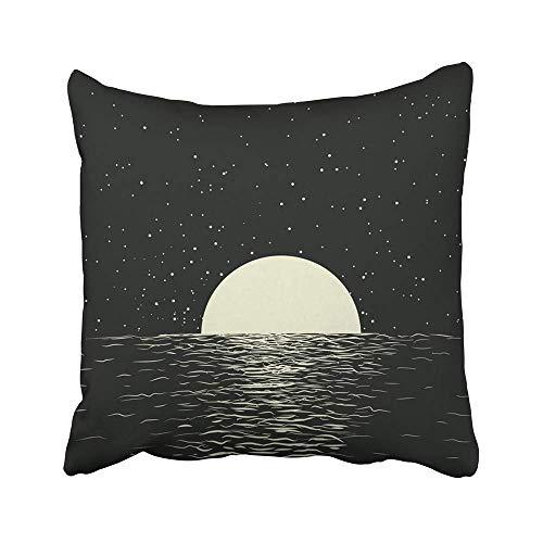 AEMAPE Fundas de cojín Agua Paisaje Marino Luna Llena en la Noche Mar Reflexión romántica Océano Silencio Oscuro Cielo Estrella Surf 40X40 Cm Funda de cojín