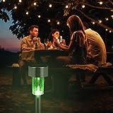 Relaxdays Set de 10 lámparas solares, LED impermeables, Iluminación de exterior, Acero inoxidable, Cambio de color, Plateado