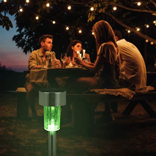 Relaxdays Solarleuchte im 10er Set, wasserdichte LED Solarlampen, für Garten & Terrasse, Farbwechsel, Edelstahl, silber
