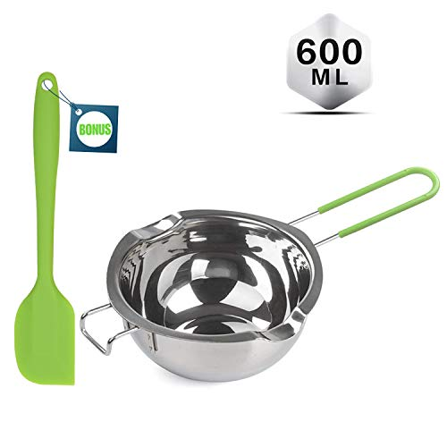 Double Boiler with Silicone Spatula, 600ml Stainless Steel Melting Pot with Heat Resistant Handle for Melting Chocolate, Candy, Candle, Soap and Wax