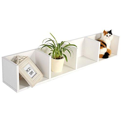 Estante de almacenamiento para CD y DVD, 4 cubos de madera modernos, estantería organizadora de almacenamiento, 95 x 17 x 16,5 cm