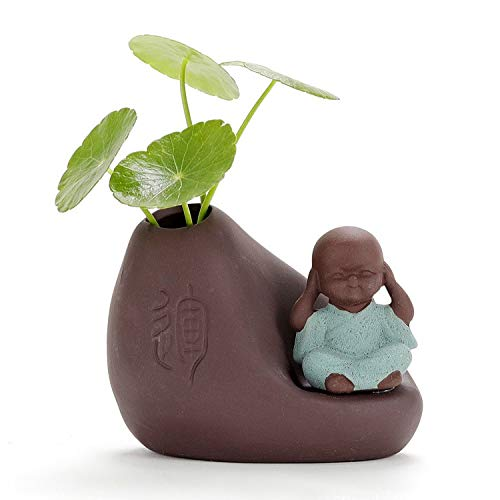 TEAWARE MMGZ Color Arena cerámica Monk Poco Creativo Oficina envase Flor Decorativa Adornos de Escritorio té Mascotas Teaware Crafts (Color : Soundless)