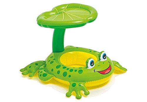 Baby Schwimmring mit abnehmbarem Sonnendach, Baby Aufblasbare Frosch Schwimmhilfe Spielzeug mit Schwimmsitz für Kleinkind