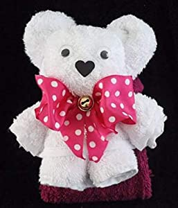 Teddybär/Handtuch-Tier in weiß auf pink, Handtuchfigur, Schleife pink mit weißen Punkten