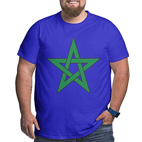 Geeboomee Morocco Flag Men's Cotton Loose Crew Neck Plus-Size Short Sleeve Extra Large T Shirt Blue