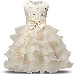 Yellow Kids Ruffles Lace Party Dress