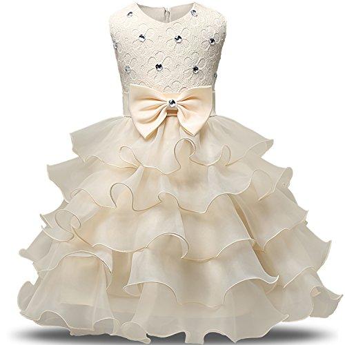 NNJXD Mädchen Kleid Kinder Rüschen Spitze Party Brautkleider Größe(130) 5-6 Jahre Gelb